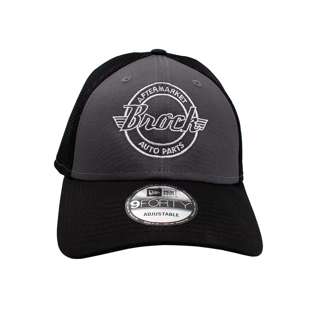 ace24813bbe ... New Era Brock Logo 9FORTY Gray Baseball Cap Snapback Black Mesh Back  Style Adjustable Hat Pre ...