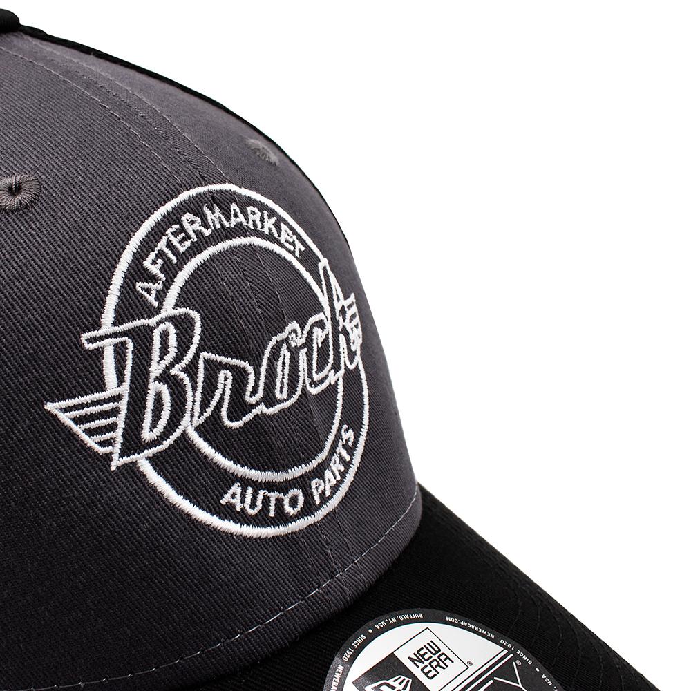17415b52d06 ... New Era Brock Logo 9FORTY Gray Baseball Cap Snapback Black Mesh Back  Style Adjustable Hat Pre