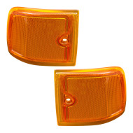 96-02 Chevrolet Express Van New Pair Composite Type Upper Front Signal Marker Light with Amber Lens DOT