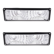 Chevrolet GMC Pickup Truck SUV New Pair Set Park Signal Front Marker Light Lamp with Diamond Black Lens Assembly