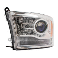 2013-2015 RAM Pickup Truck New Drivers Halogen Headlight Assembly Projector Type w/ Chrome Bezel