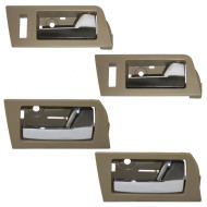 Ford Escape Mazda Tribute Mercury Mariner & Hybrid New 4 Piece Set Inside Front & Rear Camel Bezel w/ Chrome Door Handle