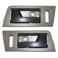Escape Mariner Tribute & Hybrid New Pair Set Front Inside Door Handle Stone Gray Bezel w/ Black Lever