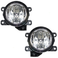 Acura Honda Fiat RAM Jeep SUV Van New Pair Set Round Fog Light Bumper Mounted Lamp Assembly