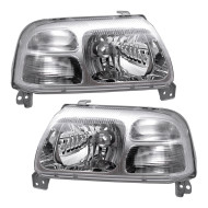 Suzuki Grand Vitara XL-7 Vitara New Pair Set Halogen Combination Headlight Headlamp Lens Chrome Bezel Housing Assembly