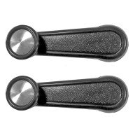 Toyota SUV Van Pickup Truck Set of Black Plastic Manual Window Crank Handles w/ Chrome Knob Center