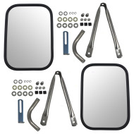 78-91 GM Pickup Truck SUV New Pair Set Universal Camper Trailer Tow Mirror Stainless Steel Short Bracket & Hardware Kit