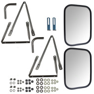 78-91 GM Pickup Truck SUV New Pair Set Universal Camper Tow Mirror Stainless Steel w/ Long Bracket & Hardware Kit