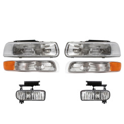 Chevrolet Pickup Truck SUV New 6 Piece Set Headlight Fog Light & Signal Side Marker Lamp Assembly