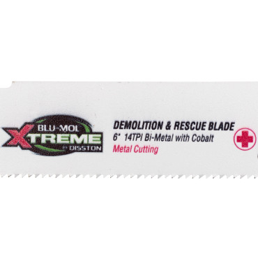 "Picture of BLU-MOL XTREME RECIPROCATING BLADE |  BI-METAL W/COBALT | DEMOLITION & RESCUE | FOR USE ON STEEL W/ BORON AND OTHER ULTRA-HIGH-STRENGTH STEELS (UHHS) | 6"" X 1"" X .042 14 TPI 
