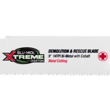 "Picture of BLU-MOL XTREME RECIPROCATING BLADE |  BI-METAL W/COBALT | DEMOLITION & RESCUE | FOR USE ON STEEL W/ BORON AND OTHER ULTRA-HIGH-STRENGTH STEELS (UHSS) | 9"" X 1"" X .042"" 14TPI 