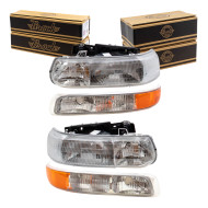 Chevrolet Silverado Pickup Truck Tahoe Suburban New 4 Piece Set Headlight with Signal Side Marker Lamp Assembly