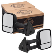 Cadillac Chevrolet GMC SUV Pickup Truck New Pair Set Manual Telescopic Tow Performance Upgrade Mirror Glass Housing