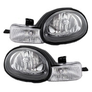 Picture of 01-02 Dodge Neon New Pair Set Headlight Headlamp Assembly w/ Black Bezel & Rubber Gasket DOT
