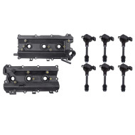 Picture of Infiniti FX35 G35 M35 Nissan 350Z New Pair Set Engine Valve Cover w/ Gasket Kit & 6 Pc Set Ignition Coils
