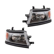 Picture of 00-04 Mitsubishi Montero Sport New Pair Set Headlight Headlamp Lens with Black Bezel DOT