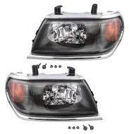 Picture of 00-04 Mitsubishi Montero Sport New Pair Set Headlight Headlamp with Chrome Bezel DOT