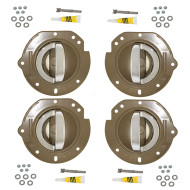 02-04 Jeep Liberty New 4 Piece Set Inside Interior Bright Chrome Door Handle & Taupe Housing Repair Kit