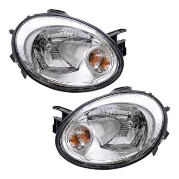 03-05 Dodge Neon New Pair Set Headlight Headlamp Lens with Chrome Bezel Housing Assembly