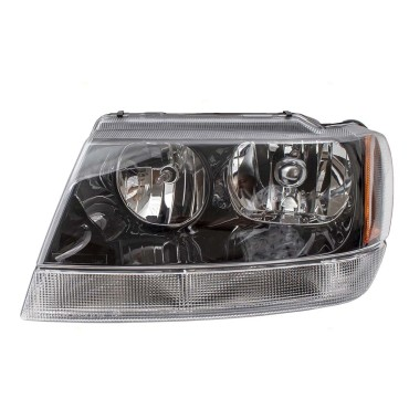 Picture Of 99 04 Jeep Grand Cherokee New Drivers Headlight Headlamp Lens With Smoked Bezel