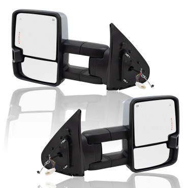 07-18 Toyota Tundra New Pair Set Performance Upgrade Towing Mirrors Heated Smoke External Signal Clearance Lamp