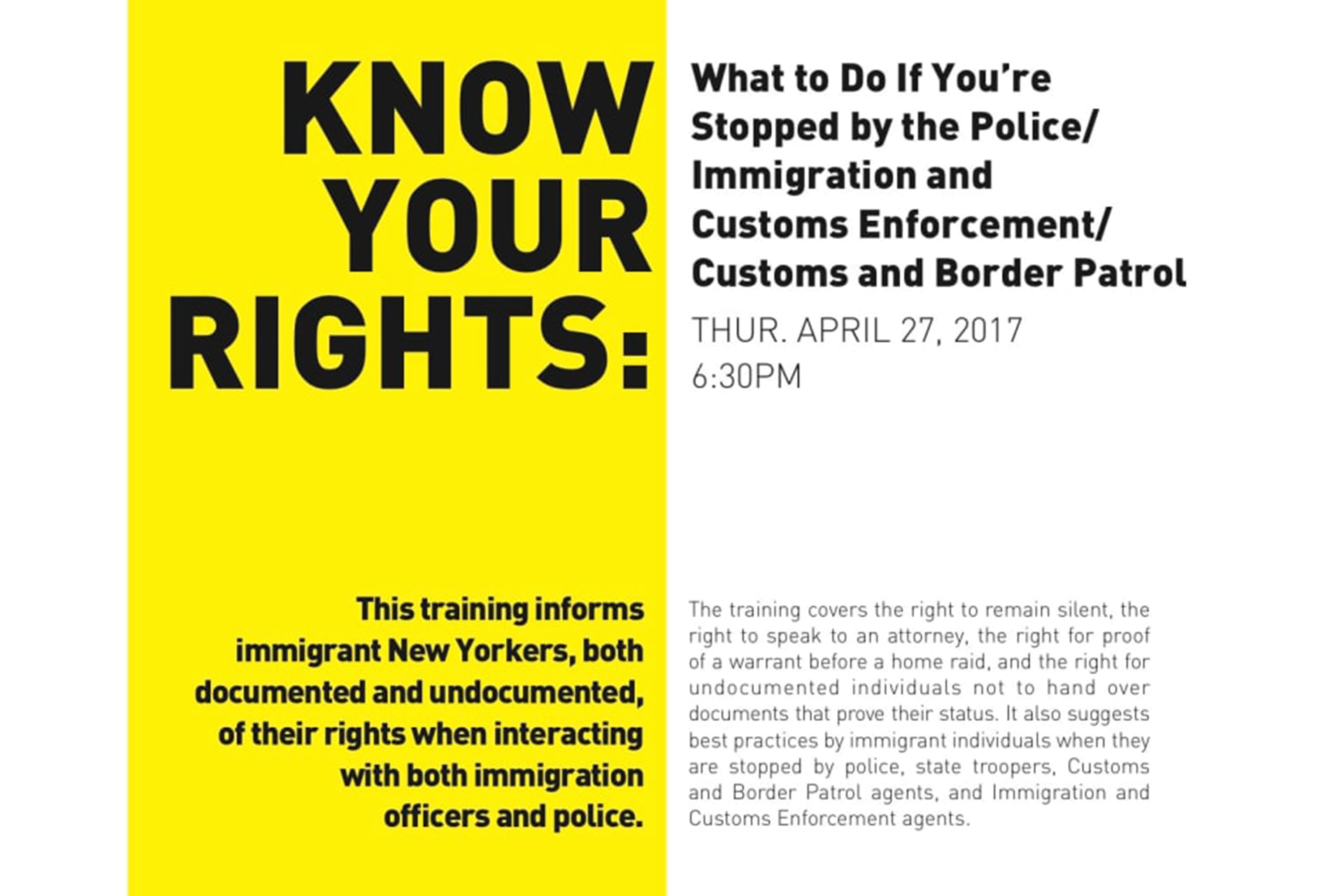 New York Civil Liberties Union: Know Your Rights Training