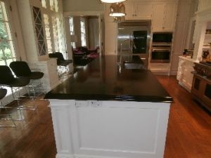 wood countertop, marine finish, walnut wide plank wood