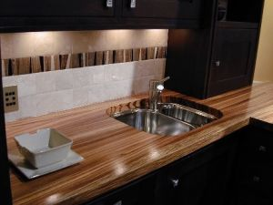 marine finish, zebrano countertop, zebrawood countertop, wide plank wood countertop, custom wood countertops