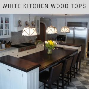 classic white kitchen, wood countertops, wide plank wood countertop, walnut countertop