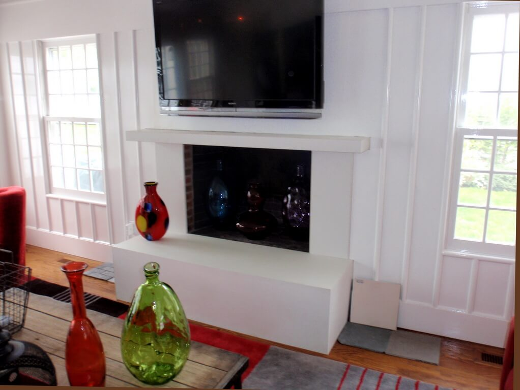 Custom White Concrete Fireplace Surround and Mantel