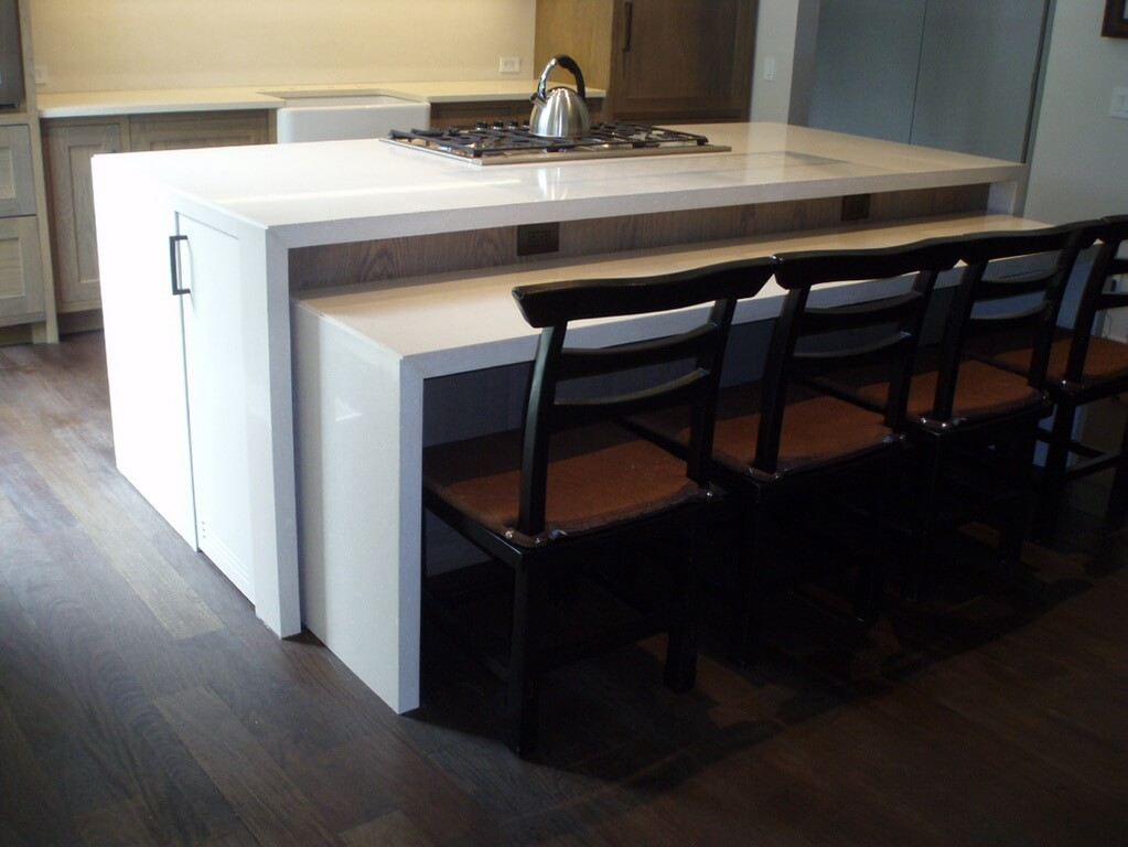 Two Level White Concrete Waterfall Style Island Countertop