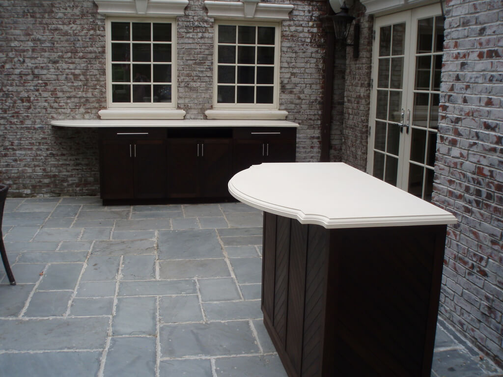 White Concrete Countertops for Courtyard Kitchen