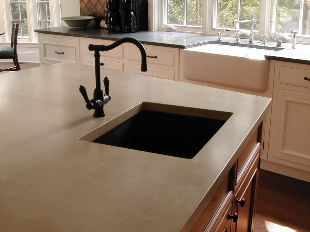 Sand Colored Concrete Kitchen Island Countertop