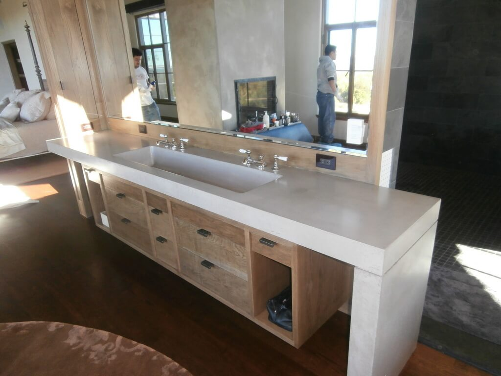 Waterfall Style Concrete Vanity Countertop
