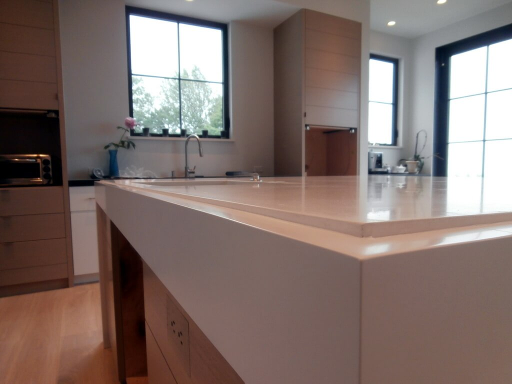 White Concrete Island Countertop Edge Closeup