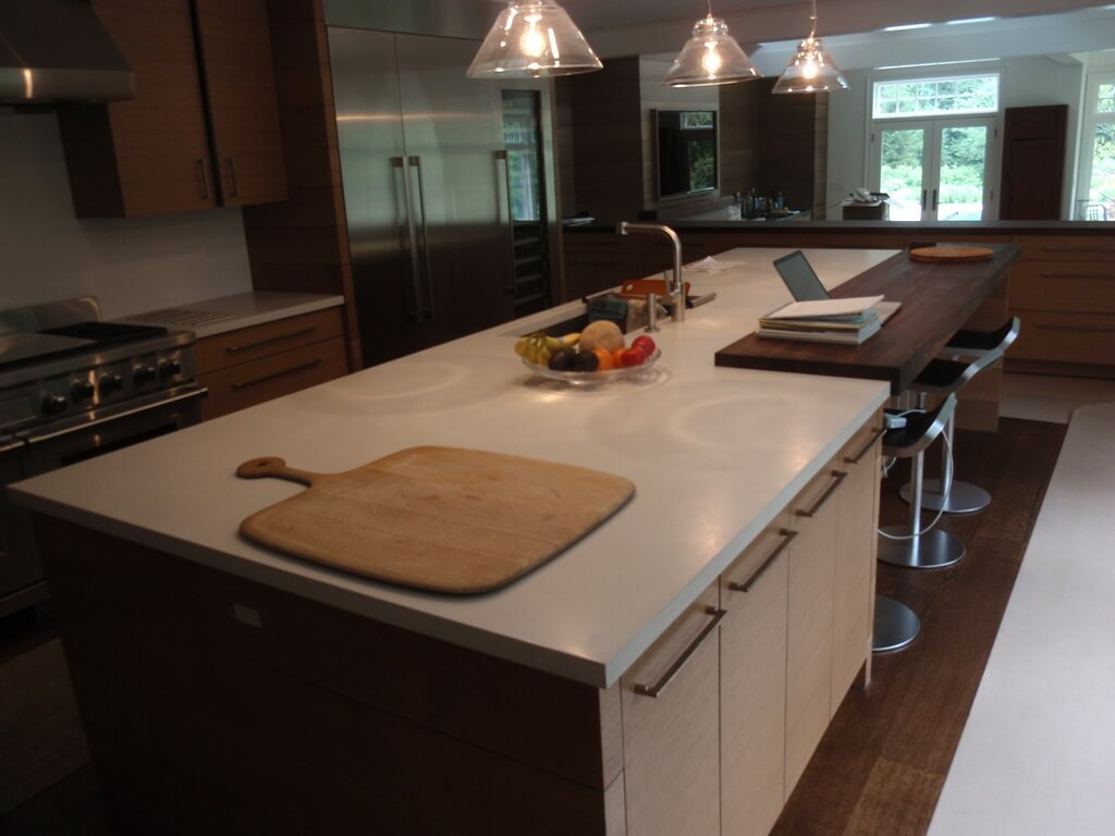White Concrete Kitchen Island with Walnut Insert