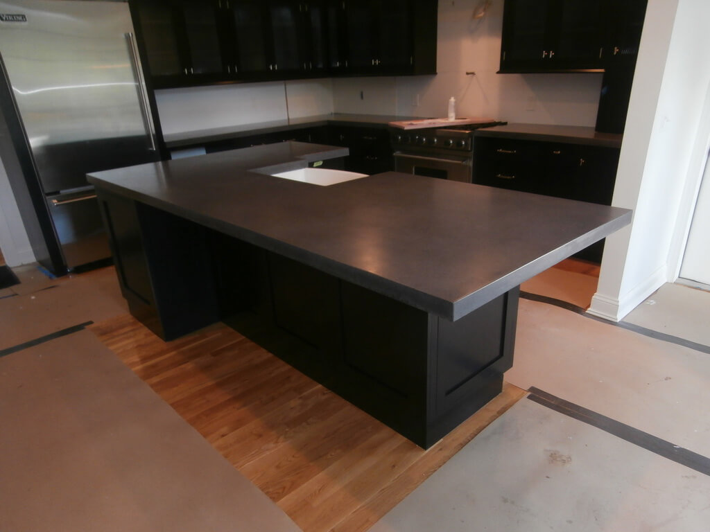 Custom Gray Concrete Kitchen Island