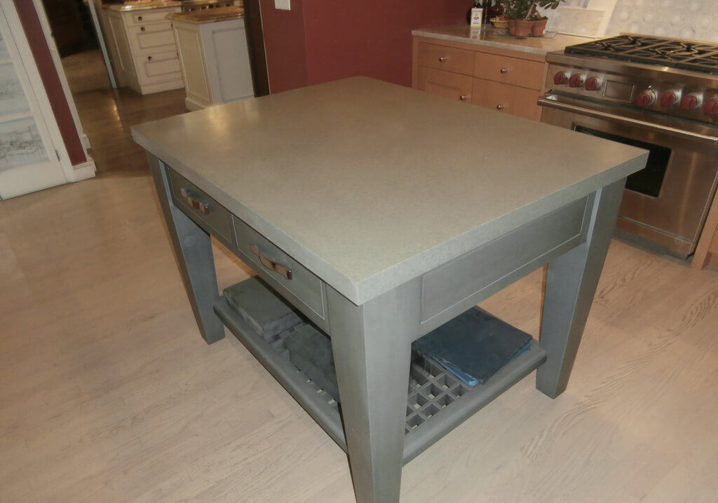 Small Kitchen Island with Concrete Countertop