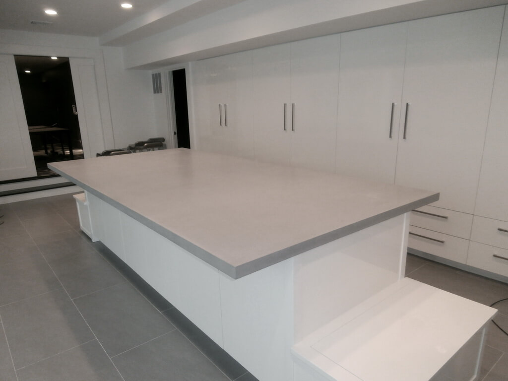 Modern Kitchen with Gray Concrete Island Countertop