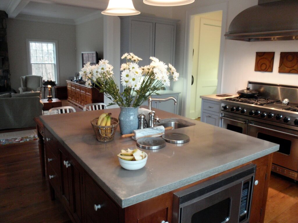 Gray Concrete Kitchen Island Countertop