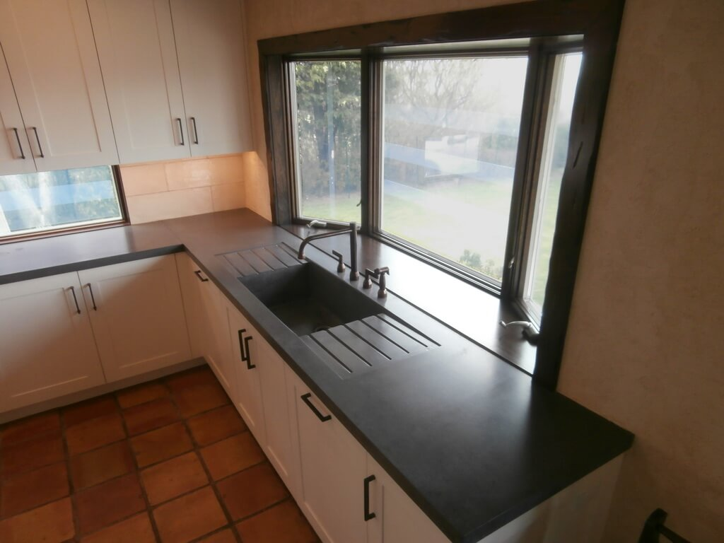 Black Concrete Countertop with Integral Drainpan
