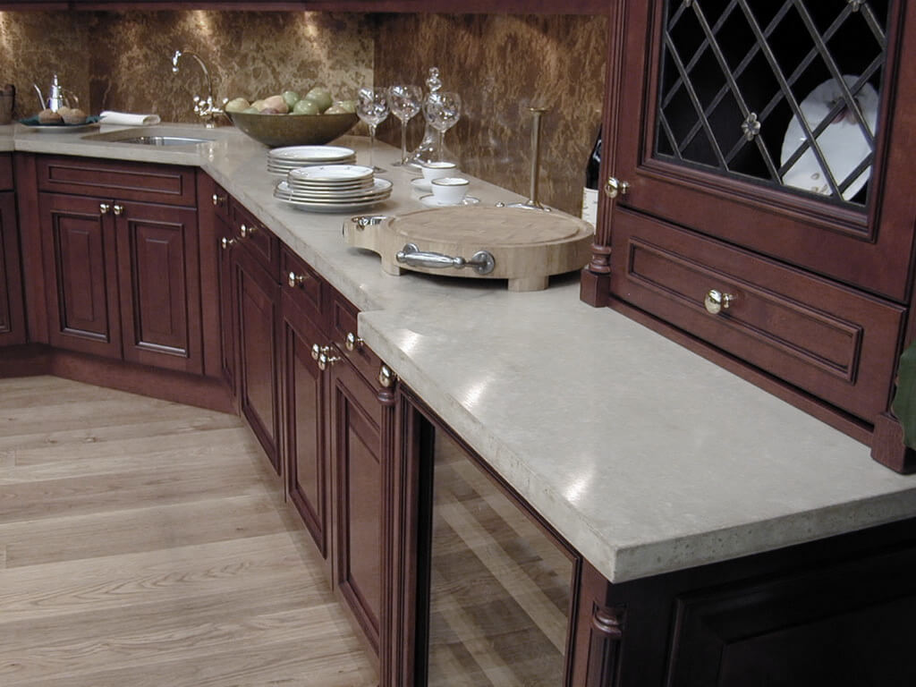 Gray Concrete Countertop in a Traditional Kitchen