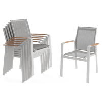 Malibu Outdoor Dining Chair Set of 6 with Teak Armrest