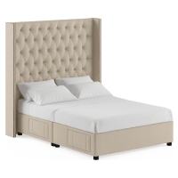 Stella Tall Queen Size Upholstered Bed Frame with Drawers