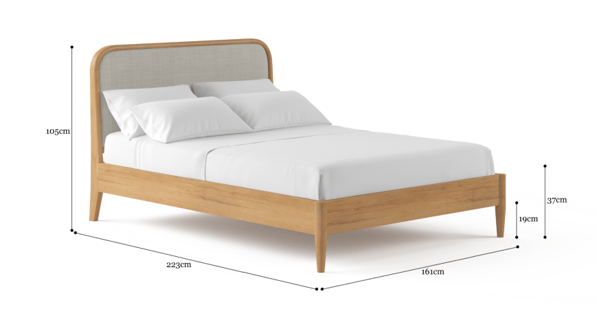 Cleo Queen Size Bed Frame In, What Are The Dimensions For A Queen Size Bed Frame
