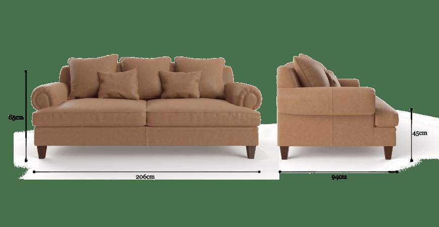 Mila Leather 3 Seater Sofa