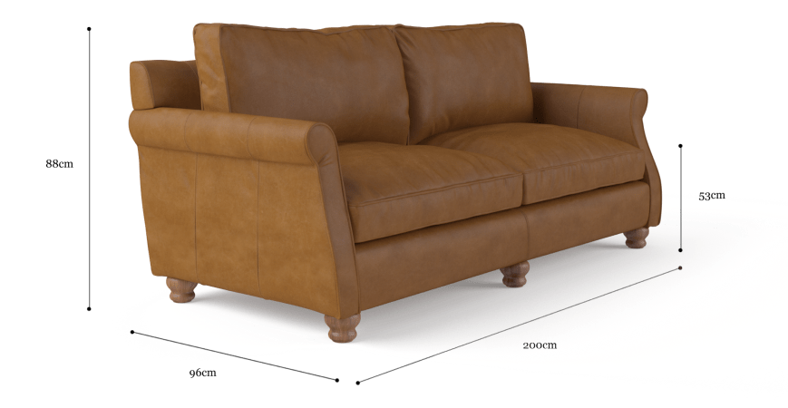 Rolley Leather 3 Seater Sofa
