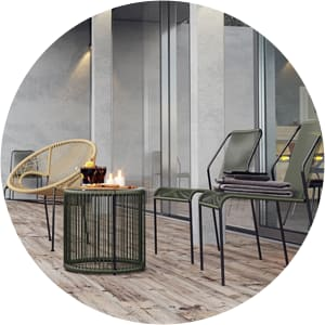 Outdoor chairs in back yard