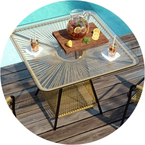 Lanzarote outdoor glass dining table