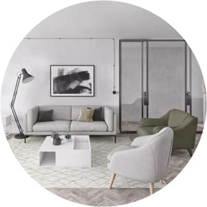 Clean living room space
